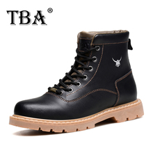 TBA Men's Winter Footwear Black Cow Split Upper with Rubber Outsole Male Martin Boots British Style Man Ankle Working Boots 8083
