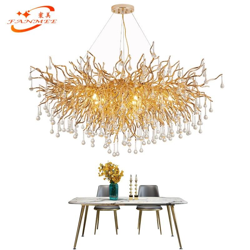 Modern Led Crystal Glass Drop Chandelier Lighting Aluminum Branch