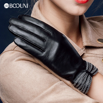 BOOUNI Genuine Leather Gloves Fashion Women Sheepskin Gloves Thermal Winter Velvet Lining Finger Black Driving Glove NW623 genuine leather gloves for women fingerless black fashion sheepskin wool one gloves winter half finger driving soft new arrival