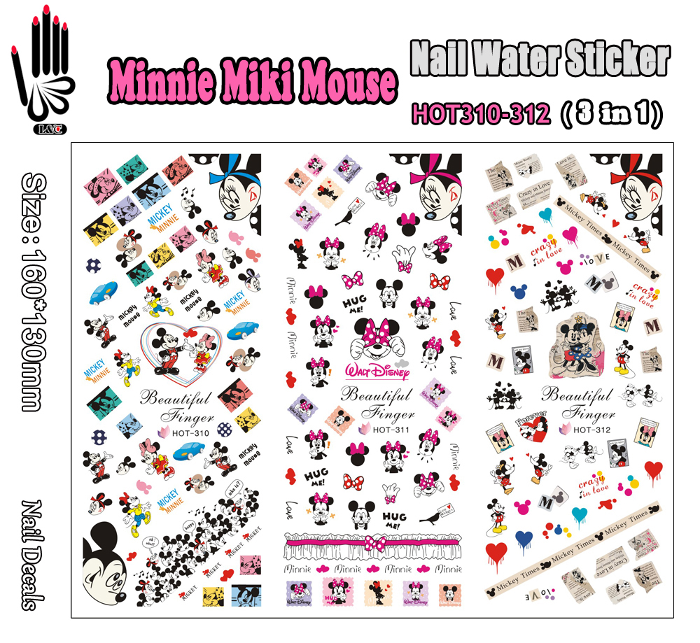 3 Sheets/Lot Nail Art HOT310-312 Micki Cartoon Mouse Nail Art Wrap Water Sticker for Nail Art (3 DESIGNS IN 1)