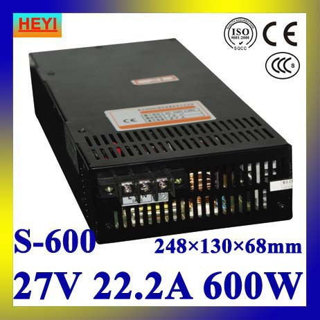 LED power supply  27V 22.2A 100~120V/200~240V AC input single output switching power supply 600W 27V transformer led power supply 12v 80a 100 120v 200 240v ac input single output switching power supply 1000w 12v transformer