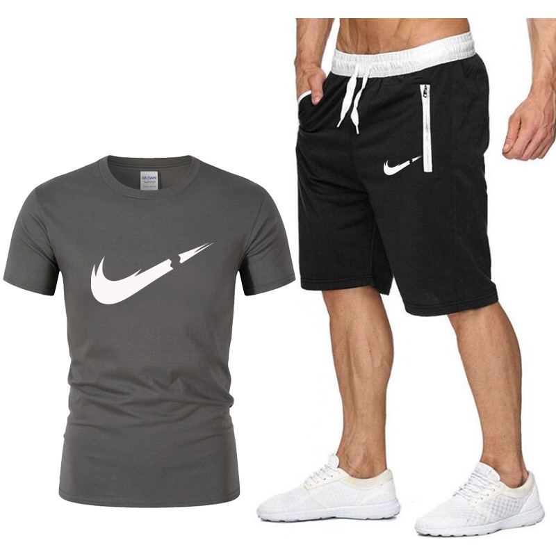 High Quality Men's T Shirts+shorts men Brand clothing Two piece suit tracksuit Fashion Casual Tshirts Gyms Workout Fitness
