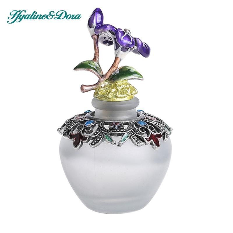 H&D Doplnitelné dekorativní sklo parfém láhev s efektní retro matné design - Vintage parfém láhev prázdné w / květinová figurka nahoru