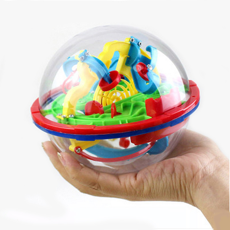 3D Intellect Puzzle Ball Maze Game (Small Size/ 100 Level) For Kids/children  Educational Metal Toy Wooden Learning Creativity