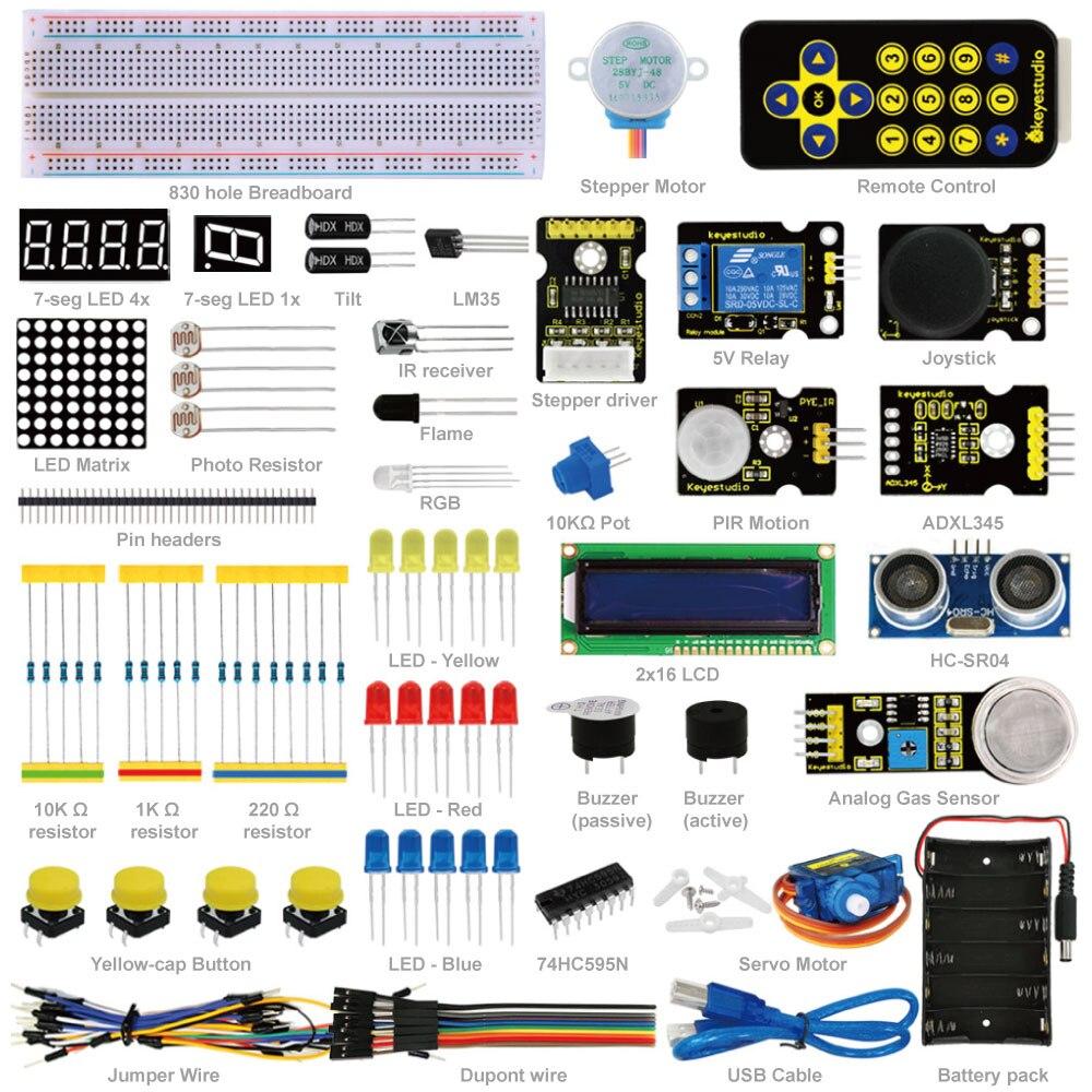 Livraison Gratuite! Kit d'apprentissage de démarrage avancé Keyestudio (pas de carte MCU) pour l'éducation à la programmation Arduino + ultrasons + PDF