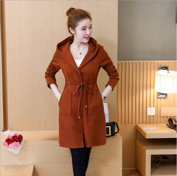 European and American Fashion Casual Hooded Coat   Trench   Women Big Size 5XL A Line Trenca Mujer Slim Drawstring Waist Lady Coats