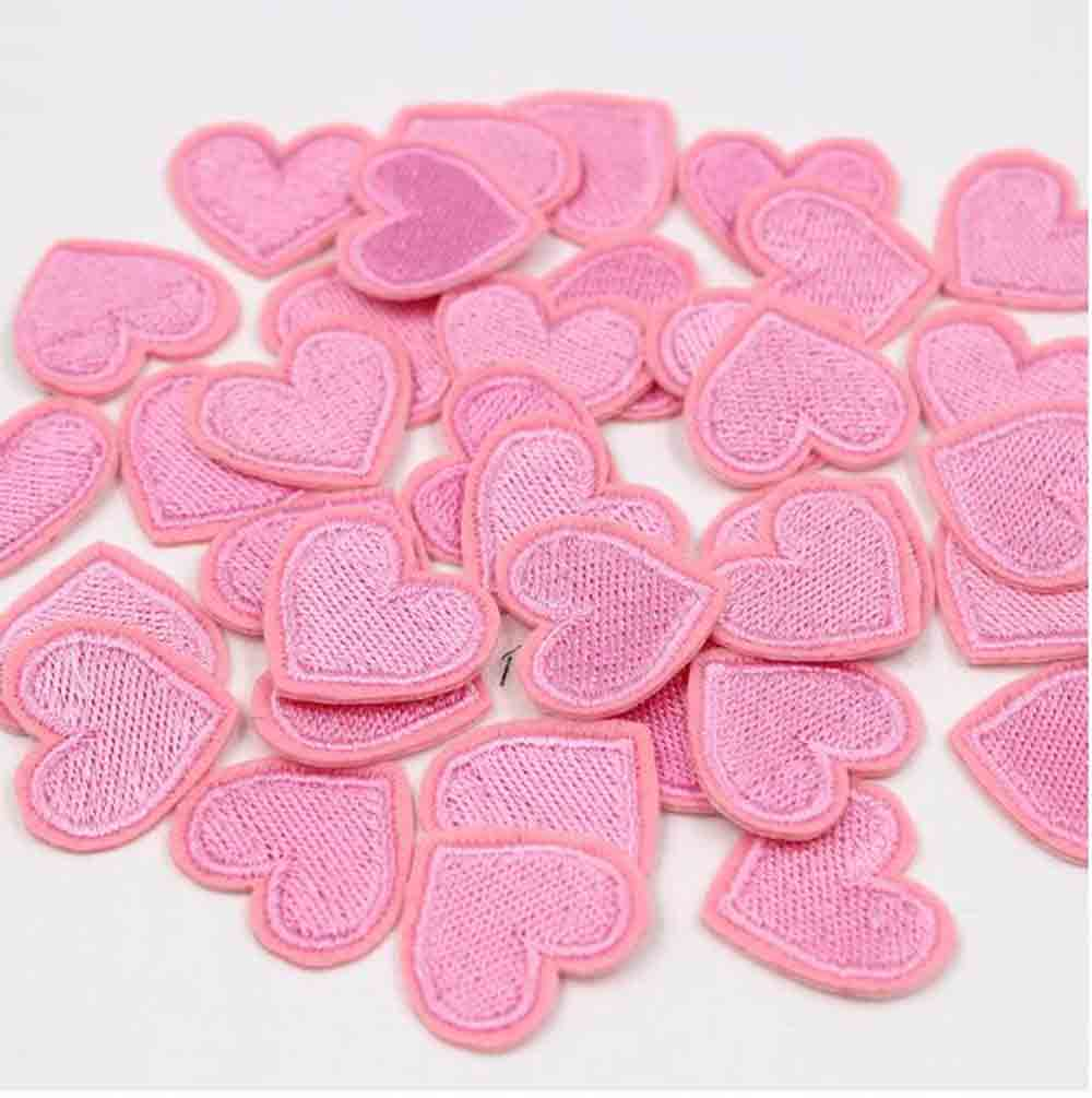 DIY Acessórios 20 Pcs Amor Red & Pink Heart Ferro No Remendo das Etiquetas da Roupa de Costura Bordado 2.6*2.4cm