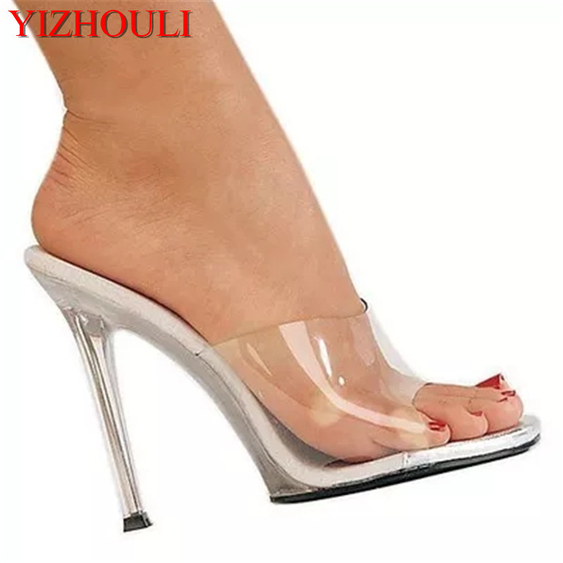 New Custom-made In 2018, Transparent Silver Heel Shoes,12cm Sexy Model Runway Shoes, Pole Dancing Shoes