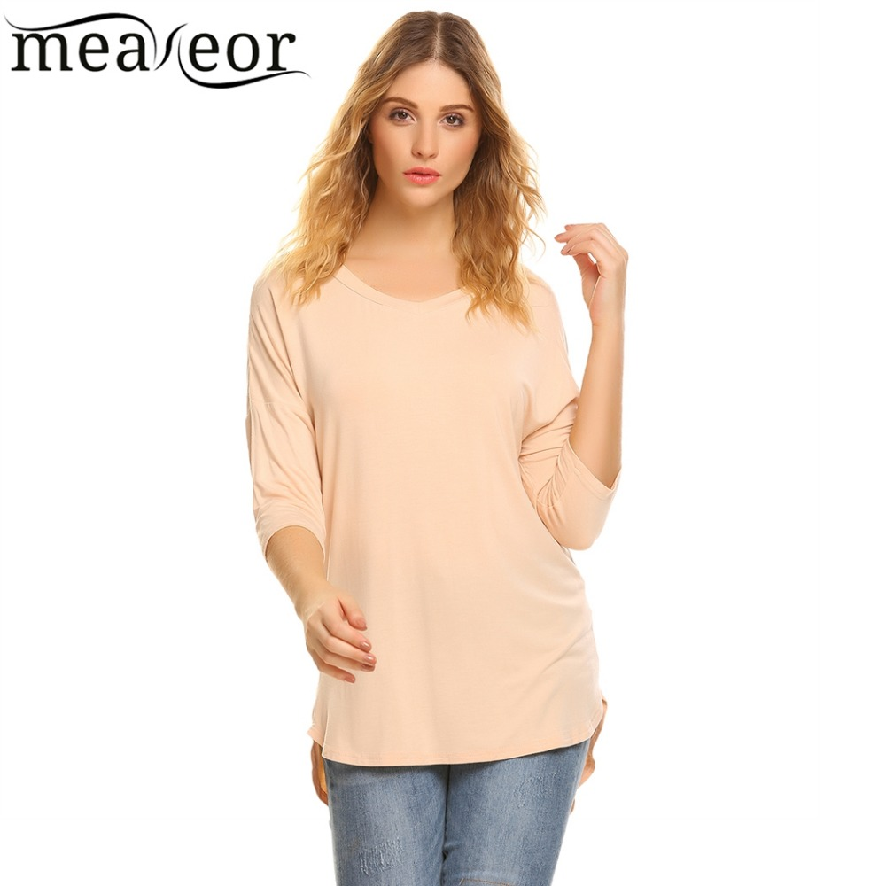 Meaneor Women Dip Hem 3/4 Sleeve T Shirt 2017 New Fashion Autumn V Neck Solid Loose Tshirts Casual Pullover tshirts Tees Tops
