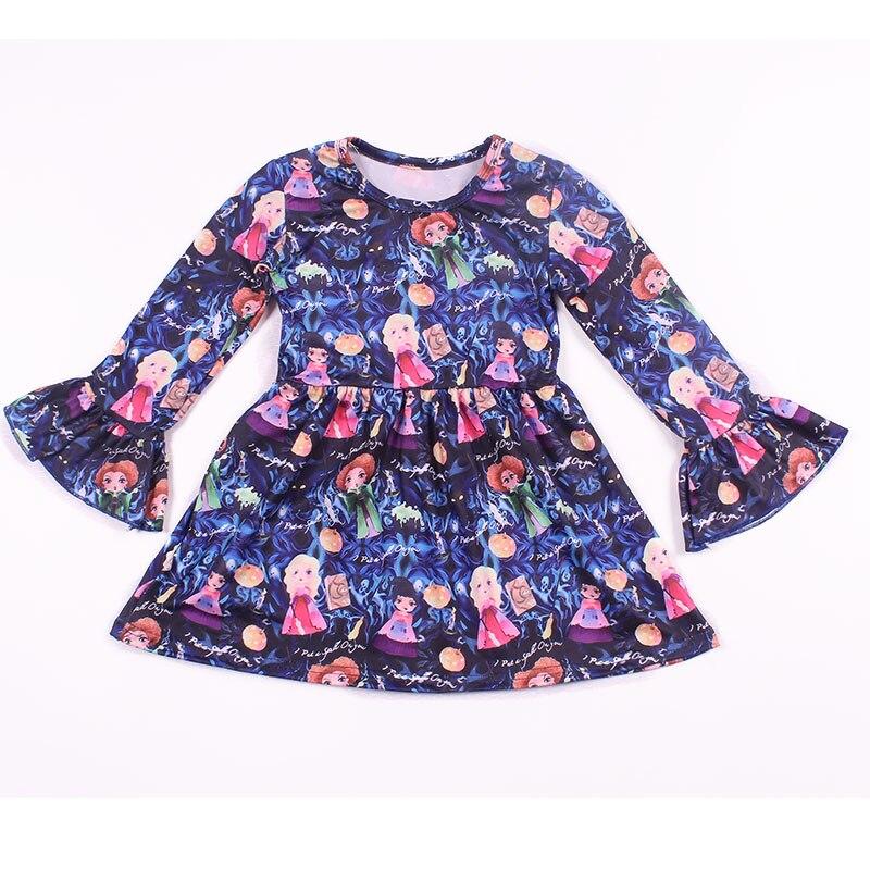 2018 herbst/Winter Kinder Langarm Kleid Prinzessin Gedruckt Kleidung Milch Seide Kleinkind Mädchen Cartoon Kleid 12 mt zu 7 t Verfügbar