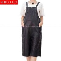 Большие размеры Новая мода весна женская обувь высокого качества из овечьей кожи на металлическом квадратном карман широкие брюки Пояса из