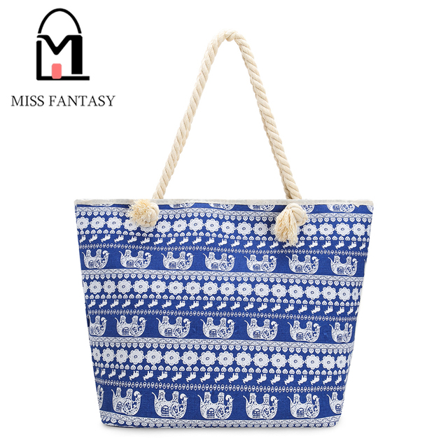 New Design Vintage Women s Canvas Handbag Beach Bag Bohemia Style Elephant  Printed Blue Shopping Big Tote Travel Shoulder Bags 59104d89c8