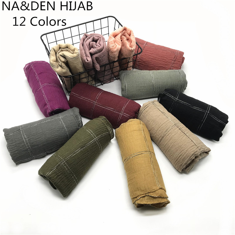 Muslim hijabs grid cotton women solid scarf shawl warps fashion foulard viscose tassels bandana fast shipping