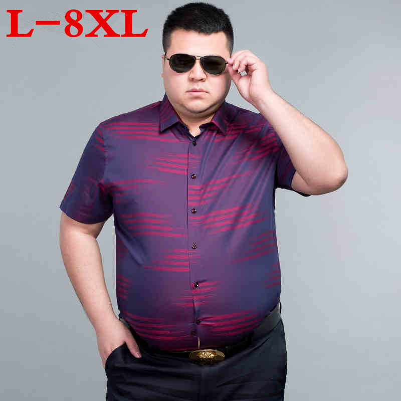new Plus Size 8XL 9XL 10XL 7XL 5XL Fashion New Summer Striped Short Sleeve Men Dress Shirts White Collar Business Men Shirts