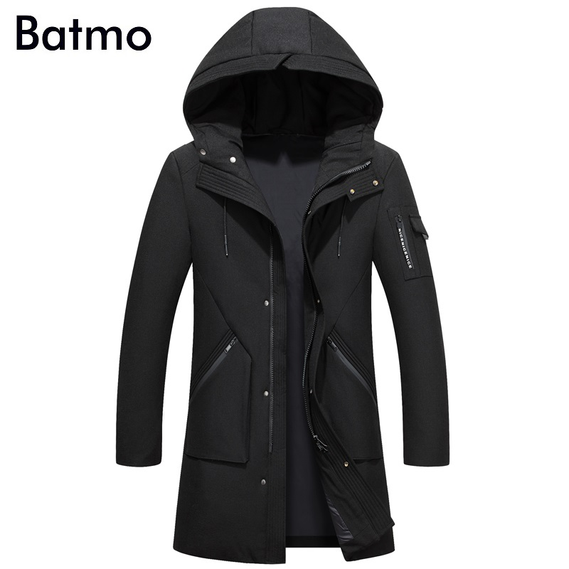 Batmo 2017 new arrival winter high quality white duck down black hooded long jacket men,army green mens coat,plus-size F618