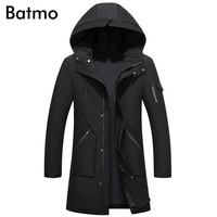 Batmo 2017 new arrival winter high quality white duck down black hooded long jacket men,army green men's coat,plus size F618