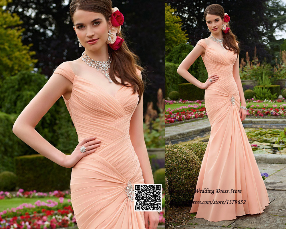 New Arrival C Peach Cap Sleeve Pleated Chiffon Long Mermaid Bridesmaid Wedding Guest Dresses 2017 In From Weddings Events On