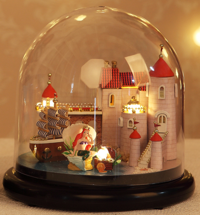 Hot Diy Glassball Birthday/valentine/christmas Gifts Miniature Furnitures Model Kits 3d Assemble Toys Creative Diary Dollhouse Architecture/diy House/mininatures Model Building