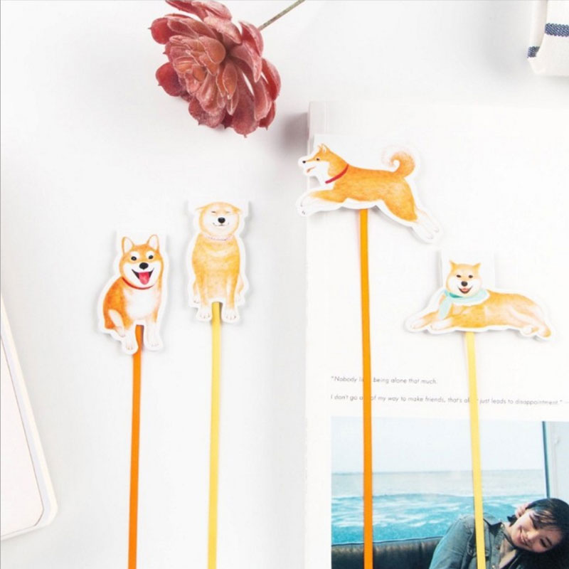 1X Dog Magnetic Bookmark Quality Ribbons Long Tail Student Gift Marker Gift Kawaii Cartoon Bookmarks Office School Stationery