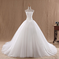 Lace Court Train Wedding Dress Vintage Strapless Tulle Bridal Ball Gown Lace Bottom Cheap Chinese Bride