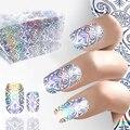 1 Листов 3D Лазерного Голографического Блеска Фольги Nail Art Передача Foils Ногтей Дизайн для Маникюра Наклейки Ногтей Наклейки
