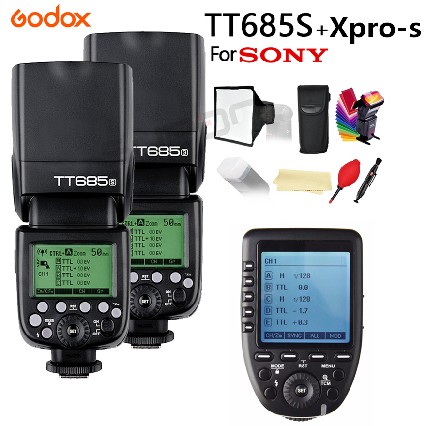 2x Godox TT685 TT685S 2.4G 1/8000s HSS TTL Camera Flash for Sony DSLR Cameras A77II A7RII A7R A58 A9 + XPRO-S + 15*17 cm softbox2x Godox TT685 TT685S 2.4G 1/8000s HSS TTL Camera Flash for Sony DSLR Cameras A77II A7RII A7R A58 A9 + XPRO-S + 15*17 cm softbox