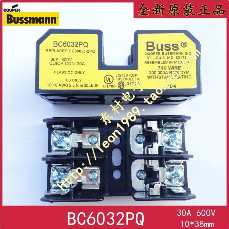 [SA] états-unis BUSSMANN porte-fusible BC6032PQ 30A 600 V 10 fois; 38mm BC6033PQ--2PCS/LOT