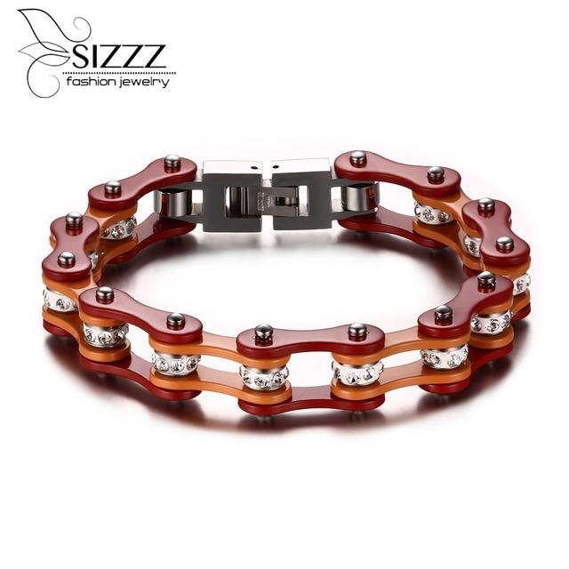 Lo nuevo hip-hop de la joyería de acero inoxidable pulsera de cadena de la motocicleta y taladro de la cz bling café orange mujeres hombres moda regalos