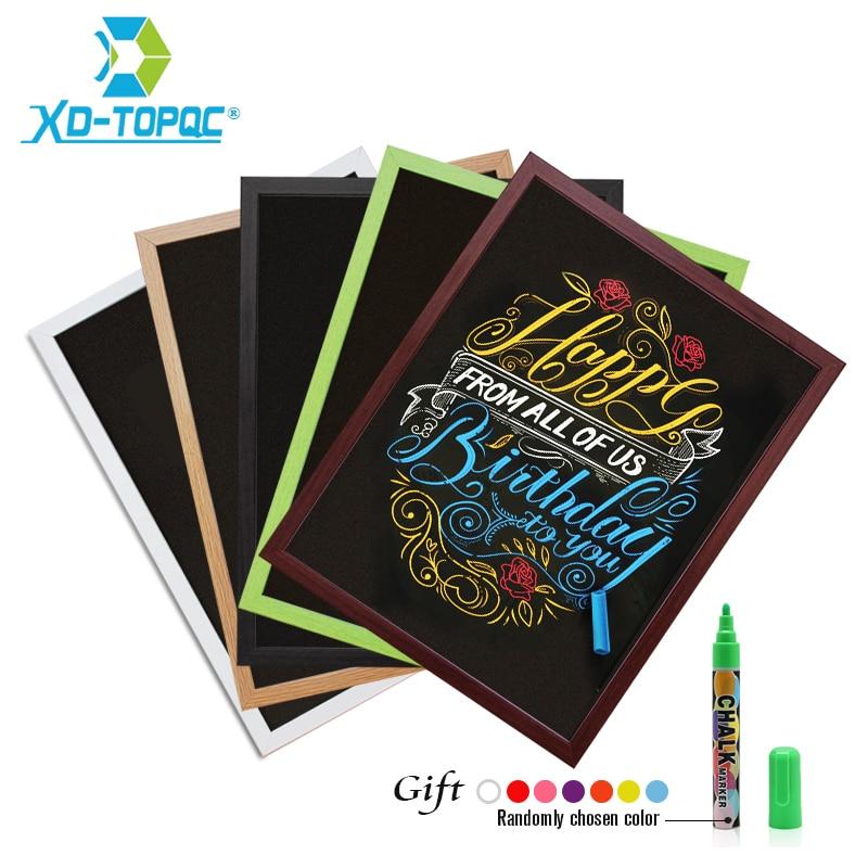 New 30*40cm Blackboard 15 Colors MDF Frame For Chosen A3 Magnetic Chalkboard Dry Erase Bulletin Board Wooden Message Chalk Board