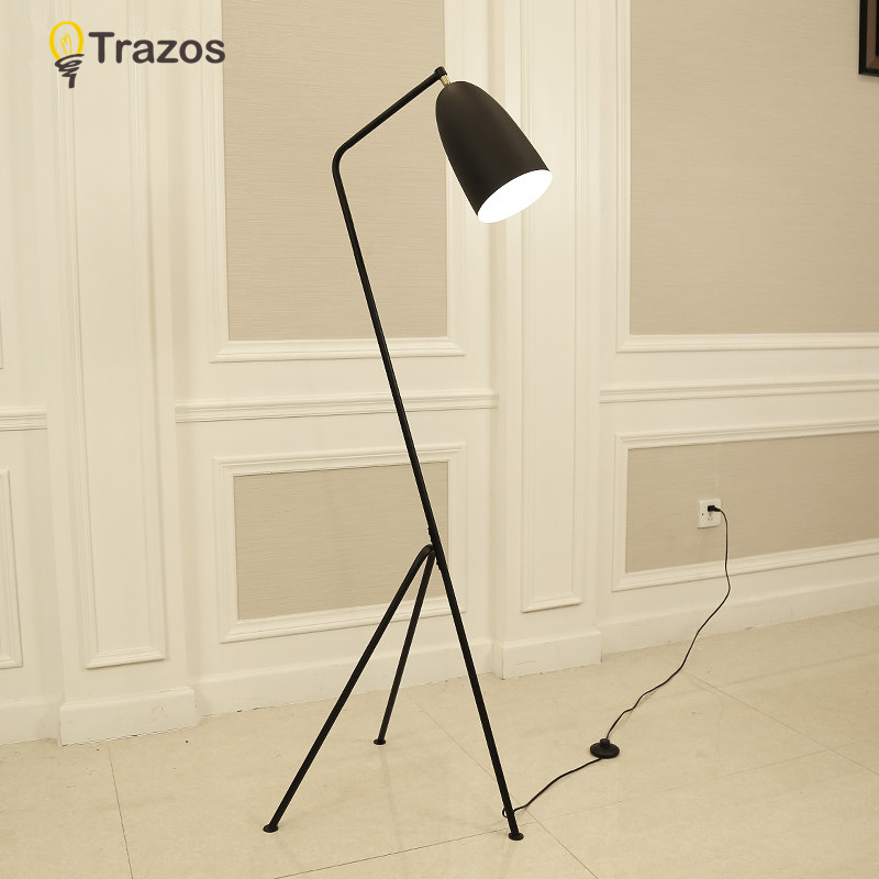 Modern Minimalist Industrial Floor Lamp Standing Lamps for Living room Reading Lighting Loft Iron Triangle Floor Lamp Colorful 2017 new modern e27 floor lamp white wood floor light loft stand lighting living room bedside standing reading lights lamps