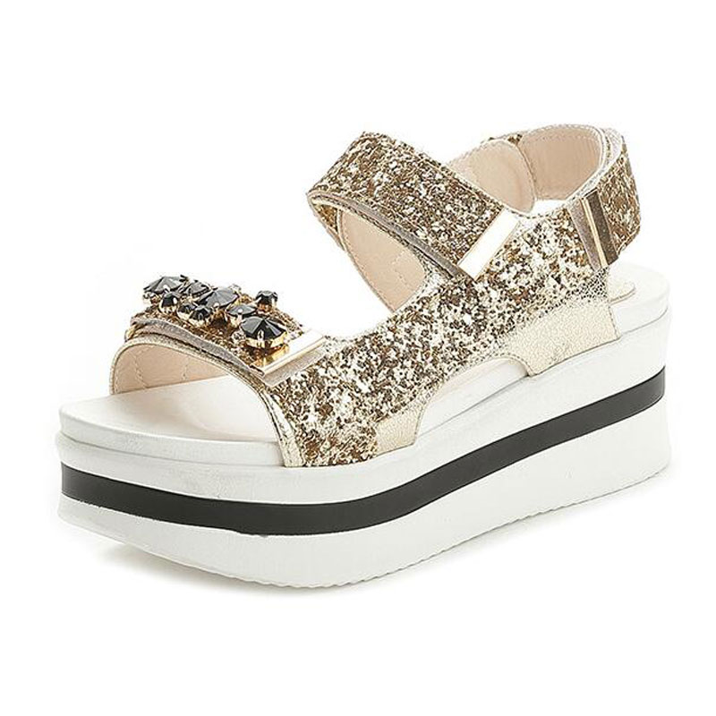 6fe807a9880 Tangnest NEW Glitter Platform Sandals For Women Gold Sliver Crystal Ankle  Strap Sandals Casual Beach Height Shoes Woman XWZ5056-in High Heels from  Shoes on ...