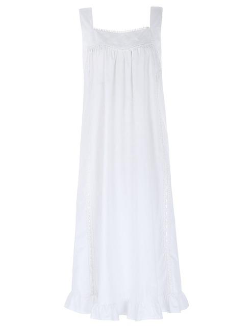 Camisolas das Senhoras Das mulheres 2016 Venda Quente Estilo Vitoriano Sexy Cor Branca Sem Mangas Praça Neck Camisola de Algodão Sono vestindo