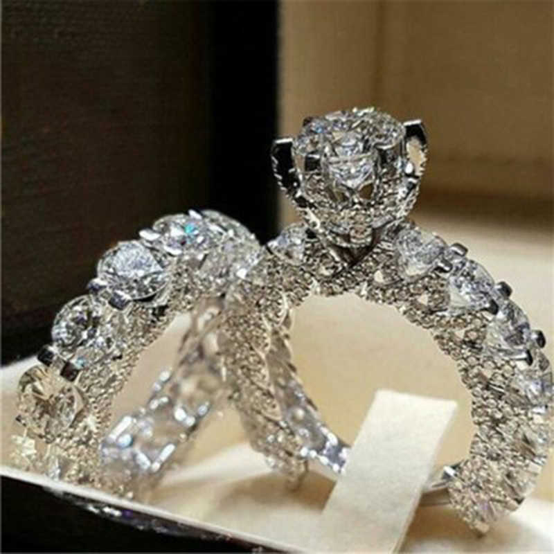 Tisonliz Dazzling Silver Natural Jewelry White Rings Bride Wedding Engagement Party Jewelry Ring Size 5 6 7 8 9 10 Dropshipping