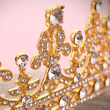 1 Piece Vintage Crystal Golden Crown Bridal Headwear Tiara Hair Accessories Hair Jewelry for Wedding Romantic Style