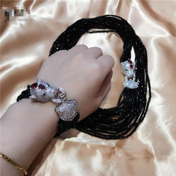 Frauen Leopard kopf schließe DIY zubehör schwarz glas kristall halskette armband set willkommen benutzerdefinierte farben modeschmuck-in Schmucksets aus Schmuck und Accessoires bei  Gruppe 1