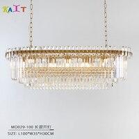 Lustre de cristal moderno luxo oval pendurado luminárias sala jantar lustre teto para sala estar
