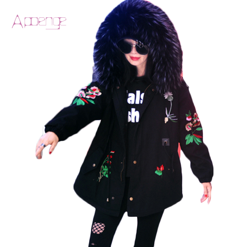 APOENGE Big Collar Female Jackets Women 2017 New Padded Cotton Coats Winter Embroidery Overcoats Loose Hooded Flower Parka LZ540