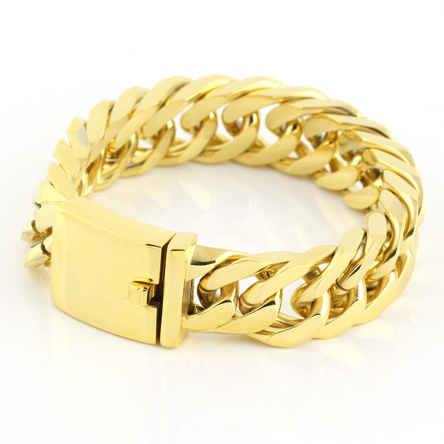 d48e218e1633 New Charming Gold Tone Link Mens Jewelry 316L Stainless Steel Curb Cuban  Chain Bracelet Cool Mens