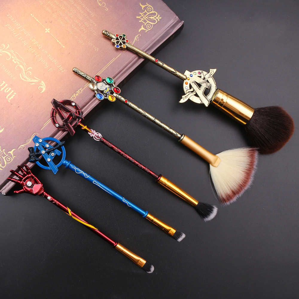 Pahlawan Super Makeup Brushes Set Marvel Series Gaya Retro 5 Pcs Avengers Thanos Tangan untuk Bubuk Eyeshadow Alis Sikat Kit alat