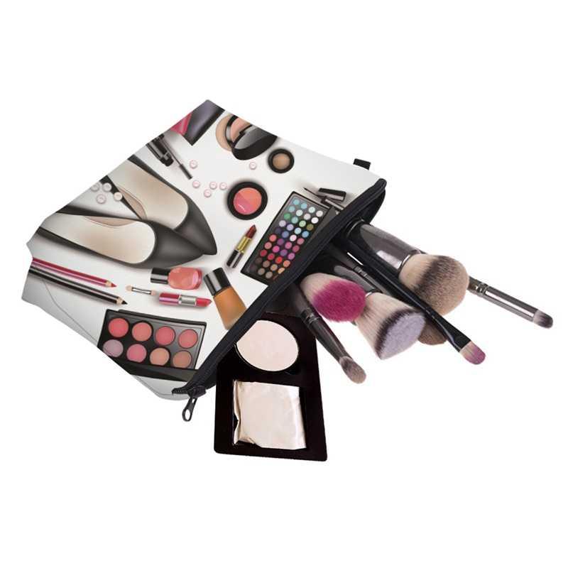Women Lady Travel Cosmetics Bags Zipped 3D Shoes Eyeshadow Lipstick Printing Organizer Pouch Storage Makeup Bag Gifts SMJ