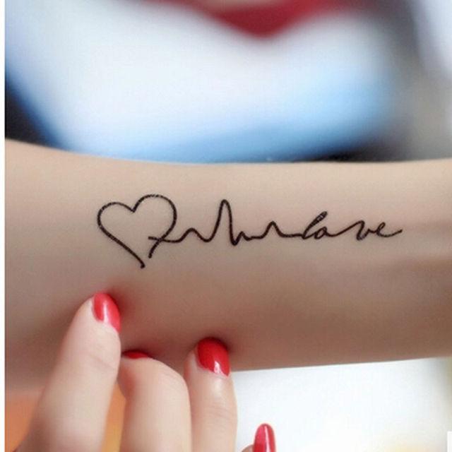 Tatuaje Corazon En El Dedo papel tatoo temporal brazo dedo cintura vervel electrocardiograma