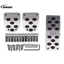 Universal MT Pedals Pads Silver Tone Black Car Gas Brake Metal Pedal Non-Slip Covers