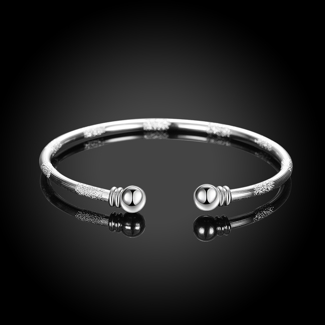 Woman Sand Round Open Bangle 925 Pure Silver Plated Charms Fashion 3mm Double Ball Cuff Bangles