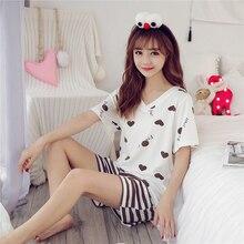 Летний пижамный комплект для женщин, домашняя одежда, пижама, женская пижама, домашняя одежда размера плюс, хлопок, кавайный Ночной костюм, ночное белье