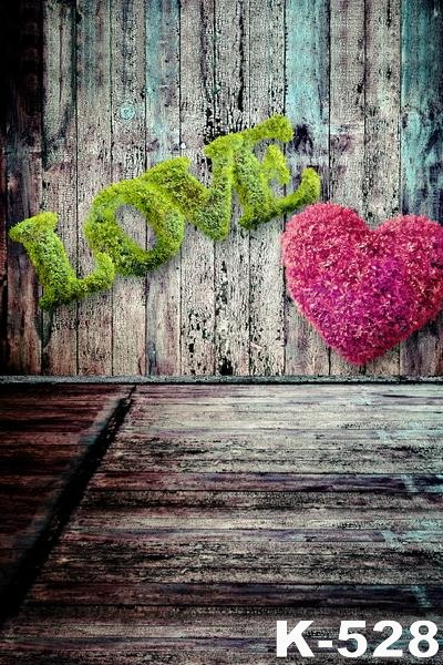 Retro Background Vinyl Digital Photography Custom 5x7ft Vintage Floor Backdrop Pink Heart Shape Flowers And Green LOVE Photo 8x10ft valentine s day photography pink love heart shape adult portrait backdrop d 7324