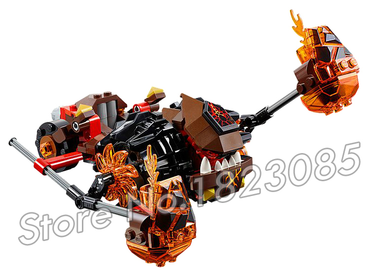 203pcs New Knights Moltors Lava Smasher Mixed Chariot 10481 Model Building Blocks Children Toy Nexus Brick Compatible With Lego