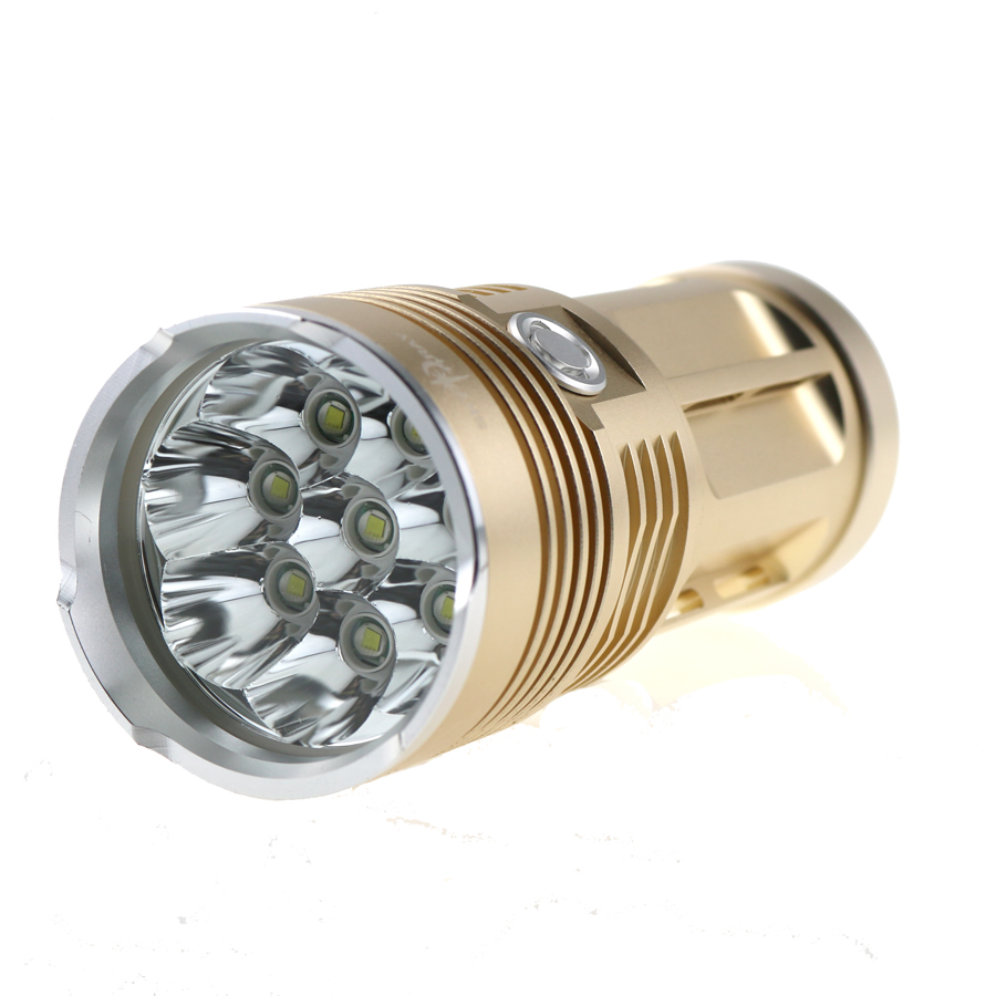 Max 15000 Lumens SKYRAY King 8T6 LED Torch 8 x CREE XM-L T6 LED Flashlight With Rope 3 Modes High-Low-Strobe Aluminum Shell 12000 lumens 8t6 super bright torch lamp light skyray king 8x cree xm l t6 led camping flashlight 5 mode lantern gold