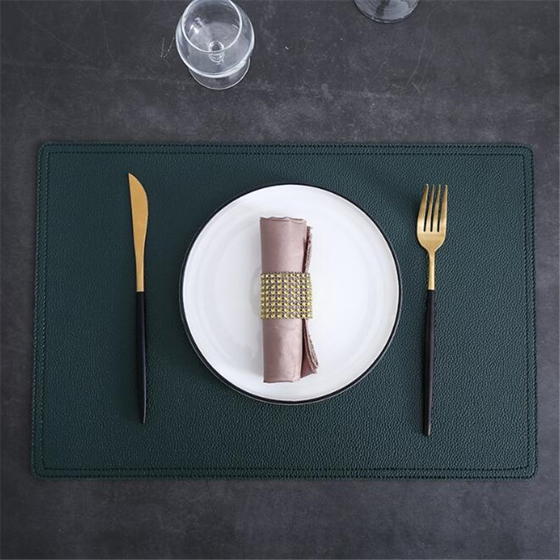New Highend Simple Double Leather Placemats Solid Color Non Slip Table Bowl Mat Waterproof And Oilproof Table Pads Tableware