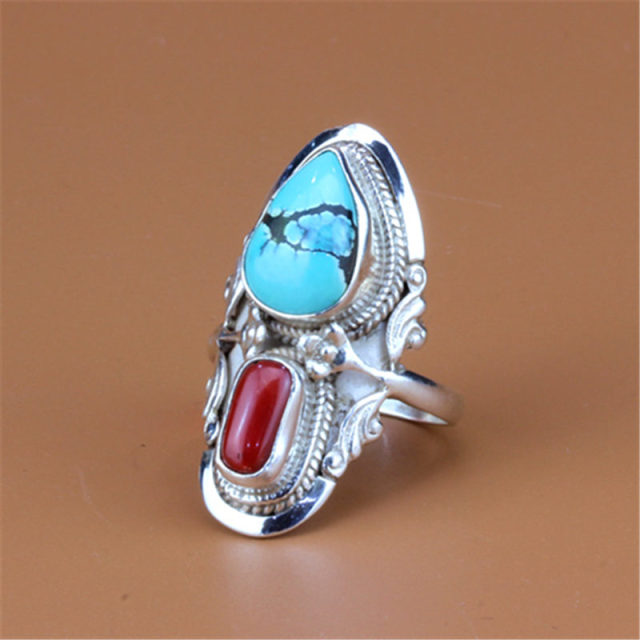 T9003 Tibetan Rings Nepal 925 Sterling Silver inlaid Natural Red Coral Turquoise Rings