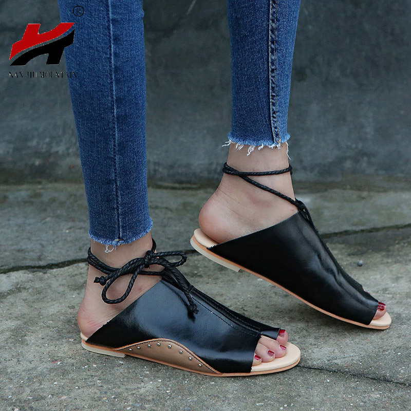 2018 New Women's Shoes Spring And Autumn Comfortable Ladies Casual Flat Sandals Large Size 35-43 spring and autumn new women fashion shoes casual comfortable flat shoes women large size pure color shoes